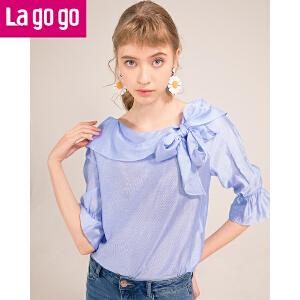 【清仓3折价107.7】Lagogo2019春夏季新款小清新一字领蝴蝶结设计感衬衫女心机上衣