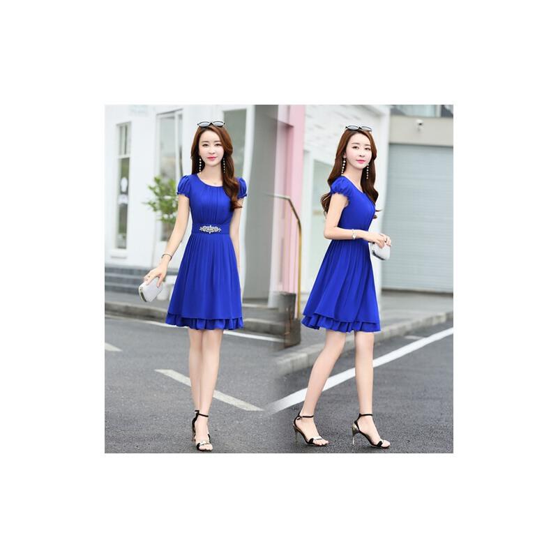 连衣裙女2018新款女装韩版时尚裙夏季修身大码中长款雪纺裙子气质