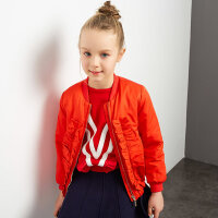 【满200减100】米喜迪mecity童装女童大荷叶边设计棒球衫红色棉服