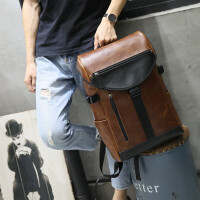 疯马皮潮流双肩包男休闲旅行大容量男士背包学生书包韩版复古 咖啡色