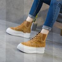 秋季冬季新款2018秋款女矮靴英��百搭厚底�R丁短靴�仍龈吲�鞋松糕SN0926