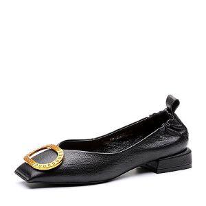 Teenmix/天美意2018春专柜同款牛皮金属扣方跟浅口女单鞋AQ771AQ8