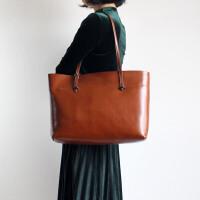 原创时尚潮流皮女包手工牛皮女包气质手提单肩包包大容量复古风