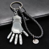 队长钥匙扣挂件男女汽车钥匙链金属盾牌钥匙圈复仇者漫威创意SN5618 钢铁侠手掌 黑绳