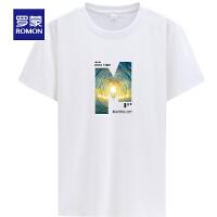 【补贴价:39】罗蒙男士短袖打底衫薄款时尚休闲圆领印花T恤中青年上衣