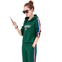 品牌新款 2018休闲套装女韩版时尚连帽长袖两件套大码运动套装女春秋潮 M 女