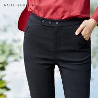 [AMII东方极简] JII[东方极简]女秋装2017新款纯色百搭松紧弹力修身外穿九分打底裤