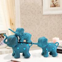 创意蓝色三只小象摆件 创意装饰品 摆设客厅卧室树脂 工艺品礼品 7602619*11*16