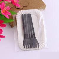 三合一餐具套装一次性刀叉碟套装生日刀叉盘组合 透明袋五盘五叉 50套