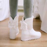 童鞋冬季女童靴子2018新款儿童雪地靴加绒小女孩高跟短靴大童潮靴