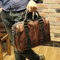 男士单肩包皮斜挎包韩版手提多功能潮流休闲斜跨包 咖啡色