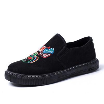 冬季加绒板鞋男韩版潮流百搭刺绣二棉鞋休闲一脚蹬套脚懒人男棉鞋