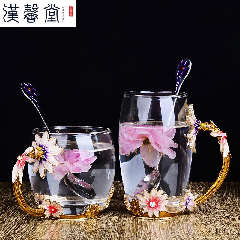 珐琅杯 创意便携珐琅彩水杯花茶杯果汁杯耐热玻璃杯泡茶杯咖啡杯情侣创意杯子女礼物 收到破损直接拒收,需当面验货。