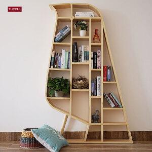N空间 北欧ins全实木简约鸟型书架 亲子创意清新木制书柜储物柜