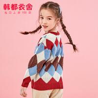 韩都衣舍童装2019冬装新款女童厚款毛衣中大童针织上衣儿童打底衫