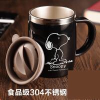创意办公室水杯不锈钢茶杯保温马克杯带盖勺咖啡杯儿童杯子jj8