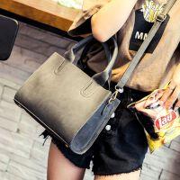 韩版女士包包女包简约单肩斜跨包大容量手提大包 灰色