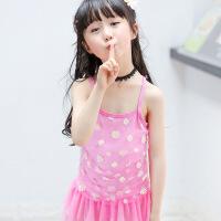 18新款儿童泳衣女孩女童游泳衣连体三角蕾丝花边公裙中小童泳装