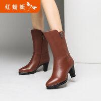 【领�涣⒓�150】红蜻蜓女鞋2018冬季新款粗跟中筒靴显瘦尖头皮靴棉鞋女