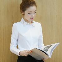 春装新款韩版手工钉珠百搭衬衣打底衫上衣女 白色