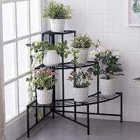 【满减】ORZ 黑色三层扇形花盆架 加厚方管阶梯式花盘托架四层花卉置物架盆栽收纳架