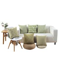 北欧清新绿色抱枕套不含芯沙发靠背靠垫床头靠腰靠枕午休汽车靠背