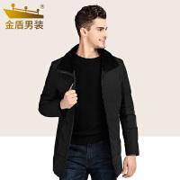金盾男装羽绒服男冬季2018新款加厚中长款中年翻领休闲羽绒外套