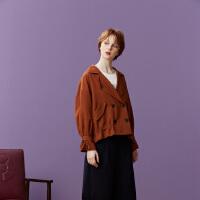 【1件3折到手价:101.7】美特斯邦威夹克女复古抽绳短外套纯色甜美时尚风衣秋装新款