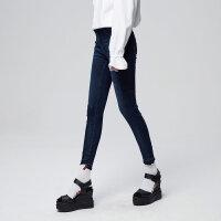 【全场2件2.5折,到手价:43.8】美特斯邦威牛仔长裤女新款潮流毛边修身小脚裤秋季上新