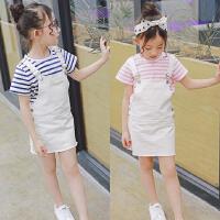 韩版夏季新款女童纯棉短袖T恤+牛仔背带连衣裙两件套装B9-B18