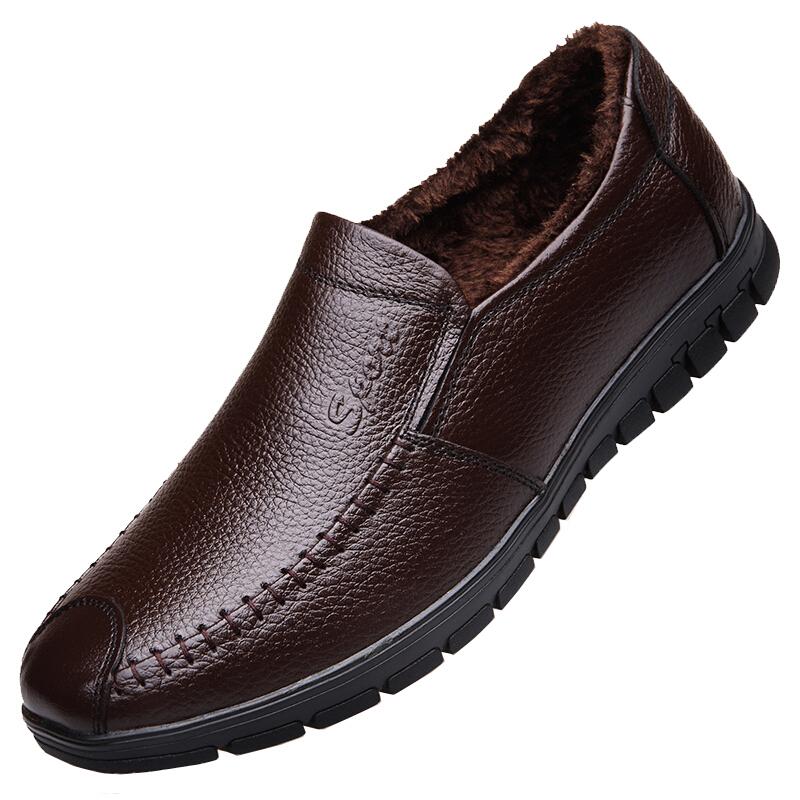 冬季加绒皮鞋男真皮保暖棉鞋软底防滑中老年人爸爸男鞋老人爷爷鞋