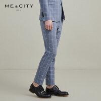 【1件3折价:107.7】MECITY男装夏季新款时尚窗格商务西裤男士休闲裤子男