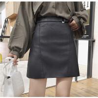 秋季新款韩版ulzzang百搭修身显瘦女高腰皮裙半身裙A字裙