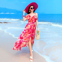 2018夏季新款露肩海边沙滩裙波西米亚长裙开叉印花雪纺吊带连衣裙 图片色