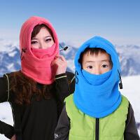 户外保暖抓绒帽男女儿童保暖防风帽护耳护脸滑雪帽面罩