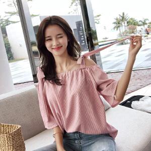 谜秀衬衫女短袖2018夏装新款韩版吊带一字肩上衣小清新条纹衬衣潮