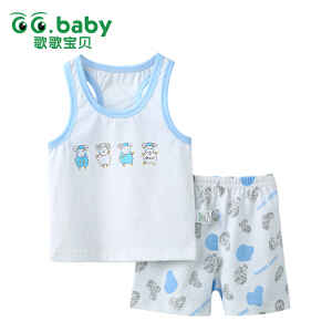 歌歌宝贝 夏季新款套装 婴儿纯棉夏季内衣背心套装