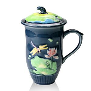 乾唐轩活瓷杯 蜻蜓夏荷高杯彩绘 陶瓷水杯子办公杯商务礼品杯