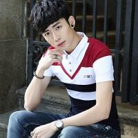 2018夏季新款短袖T恤男韩版修身青年纯棉翻领polo衫男装有领体恤 红色 607 M 修身80-100斤