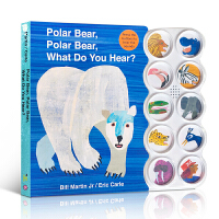 【包邮】英文原版绘本 Eric Carle:Polar Bear, What Do You Hear? 北极熊,北极熊,你听到了什么?儿童纸板书发声书 聆听各种动物的叫声