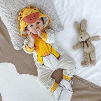 婴儿连体衣冬装0一1岁新生衣服6-12个月加绒保暖爬服男宝宝外出服