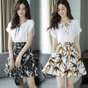 上衣短裙两件套夏雪纺裙子短袖女2018夏新款半身裙亚麻时尚套装裙