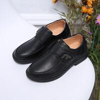 男孩童鞋中大童春秋款儿童牛皮革休闲学生演出鞋黑色男童皮鞋