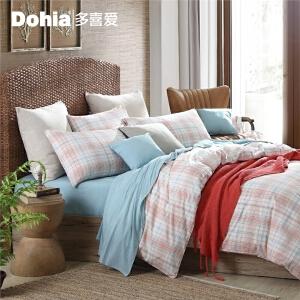 多喜爱全棉色织四件套简约条格套件床上用品斯卡斯代尔