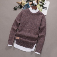 男士长袖针织衫韩版个性毛衣男青少年学生圆领加厚贴布粗针线衣潮 紫色 1701加厚款