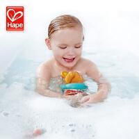 德国Hape发条游泳泰迪熊儿童戏水水上漂浮玩具宝宝婴儿洗澡玩具