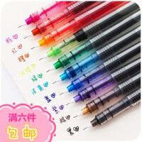 白雪彩色中性笔 直液式走珠笔黑针管型手帐笔 学生做笔记的水性笔