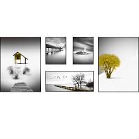 沙发背景墙装饰画北欧客厅组合挂画现代简约风景黑白壁画餐厅墙画 整体尺寸约210*80cm 时尚白框 油画布画面