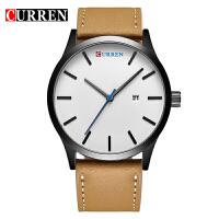 卡瑞恩8214 防水圆形男士石英手表 中性日历皮革手表