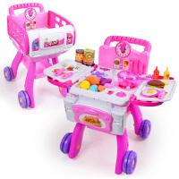 �和��N房套�b手推�物�女孩女童仿真�N具�^家家做�玩具 �N房手推� 粉色